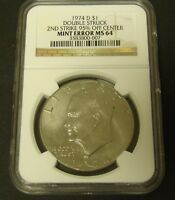 1974-D IKE ERROR DOUBLE STRUCK NGC MINT STATE 64 - UNIQUE $1 2ND STRIKE 95 OFF CENTER