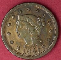1847 BRAIDED HAIR LARGE CENT EXTRA FINE DETAILS