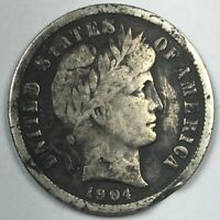 1904-S BARBER DIME -  KEY DATE SILVER US COIN