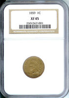 1859 INDIAN CENT, NGC EXTRA FINE  45, FIRST YEAR TYPE COIN