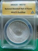 2014 P $1 SILVER MS70 ANACS CERTIFIED NATL BASEBALL HALL OF FAME DOLLAR
