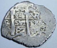 1687 SPANISH SILVER 1 REAL COB PIECE OF EIGHT ONE REALES COLONIAL TREASURE COIN