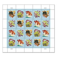 USPS NEW CORAL REEFS PANE OF 20 POSTCARD STAMPS