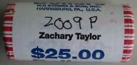 2009 P ZACHARY TAYLOR UNCIRCULATED ONE DOLLAR 25 GOLDEN COIN ROLL $1