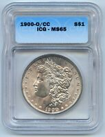 1900-O/CC $1 MORGAN SILVER DOLLAR. ICG GRADED MINT STATE 65. LOT 2606