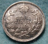 1907 ND AU CANADIAN 5 CENT SILVER KING EDWARD VII COIN CANADIAN NARROW DATE