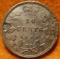 1858 CANADA 20 CENT COIN SINGLE YEAR MINTAGE SILVER LOVE TOKEN VICTORIA