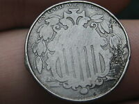 1866 SHIELD NICKEL 5 CENT PIECE- WITH RAYS, ROLLED RIMS, SMALLER DIAMETER