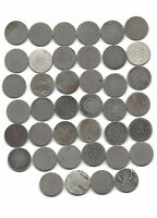 COMPLETE ROLL/LOT OF 40 SHIELD NICKELS- 1866-1883, MAJORITY WITH DATES