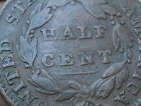1832 CLASSIC HEAD HALF CENT- VG DETAILS,  TYPE COIN