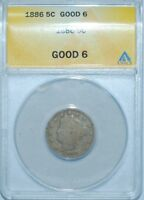 1886 ANACS G6 LIBERTY V NICKEL
