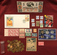 JUNK DRAWER LOT: HAGERSTOWN BANK NOTE $5 DOLLARS QUARTERS POSTAGE STAMPS CENTS