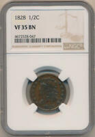 1828 CLASSIC HEAD HALF CENT. NGC VF35 BROWN