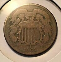 1864 US TWO 2 CENT COINS