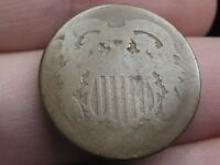 1864-1872 TWO 2 CENT PIECE- CIVIL WAR TYPE COIN, DATELESS, NO DATE