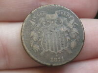 1871 TWO 2 CENT PIECE- VG DETAILS - FULL DATE