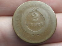 1864-1872 TWO 2 CENT PIECE- CIVIL WAR TYPE COIN, CHOCOLATE BROWN