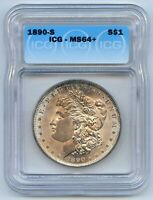 1890-S $1 MORGAN SILVER DOLLAR. ICG GRADED MINT STATE 64. LOT 2724