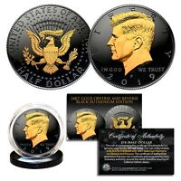 2019 BLACK RUTHENIUM JFK HALF DOLLAR U.S. COIN 2 SIDED 24K GOLD  P MINT