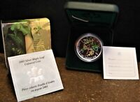2003 CANADIAN SILVER 1 OZ $5.00 COLOURED MAPLE LEAF WITH BOX