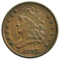 1833 CLASSIC HEAD HALF CENT, TOUGH DATE, EARLY TYPE COIN [4174.564]