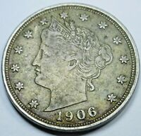 1906 EXTRA FINE -AU US 5 CENT LIBERTY NICKEL U.S. CURRENCY ANTIQUE USA COLLECTION COIN