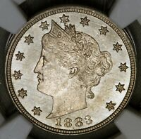 1883 5C LIBERTY V NICKEL NO CENTS NGC MINT STATE 62 SEMI PL PROOF LIKE FIELDS BU UNC TYPE