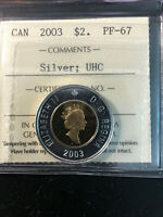 2003 CANADA 'FROSTED PROOF' SILVER 2 DOLLAR COIN   ICCS PF 6