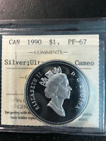 1990 CANADA 'HENRY KELSEY' SILVER DOLLAR COIN   ICCS PF 67 U