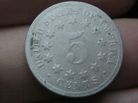 1869 SHIELD NICKEL 5 CENT PIECE- TALL NARROW DATE,