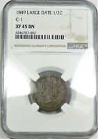 1849 NGC EXTRA FINE  40 BN BRAIDED HAIR HALF CENT 1/2 COPPER US COIN ITEM 20409A