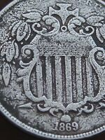 1869 SHIELD NICKEL 5 CENT PIECE- TALL/NARROW DATE, FINE/VF SHIELD DETAILS