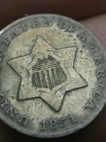 1851 THREE 3 CENT SILVER TRIME- VF DETAILS