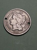 1866 3 CENT NICKEL DDO  CHERRY PICKERS VARIETY SEE PICTURES  NO RIBBON 3