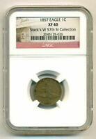 1857 FLYING EAGLE CENT EXTRA FINE 49 NGC STACK'S W 57TH ST COLLECTION