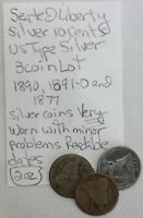 3 COIN LOT SILVER SEATED LIBERTY DIME 10C US TYPE COINS 1877 1890 1891-O K72