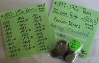 1897-1916 32 COIN RUN SILVER BARBER DIMES W/ O D S MINTED 10C US COINS LOT 4
