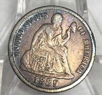 1889 SEATED LIBERTY ONE DIME COIN-SWEET TONING IN THE LIGHT :