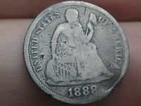 1888 P SEATED LIBERTY SILVER DIME- VG DETAILS, PARTIAL LIBERTY