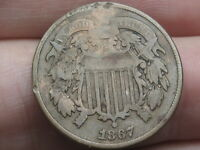 1867 TWO 2 CENT PIECE- CIVIL WAR TYPE COIN, VG/FINE DETAILS, FULL DATE