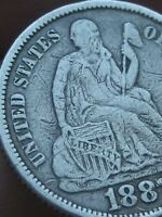 1887 SEATED LIBERTY SILVER DIME- FINE/VF DETAILS