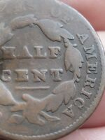 1826 CAPPED BUST HALF CENT, OLD TYPE COIN