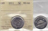 2011 ICCS MS66 5 CENTS CANADA FIVE NICKEL