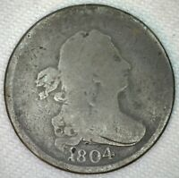 1804 DRAPED BUST COPPER HALF CENT US TYPE COIN AG 1/2 CENT CROSSLET 4 NO K18