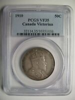 1910 PCGS VF35 50 CENTS VICTORIAN  LEAVES VL  CANADA FIFTY HALF DOLLAR SILVER