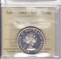 1961 ICCS PL66 50 CENTS HEAVY CAMEO CANADA FIFTY HALF DOLLAR SILVER