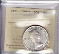 1963 ICCS MS65 50 CENTS CANADA FIFTY HALF DOLLAR SILVER