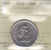 2012 ICCS MS67 50 CENTS CANADA FIFTY HALF DOLLAR