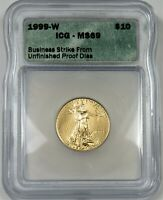 1999-W UNFINISHED PROOF DIES ICG MINT STATE 69 $10 GOLD AMERICAN EAGLE 1/4 OZ US 20567A