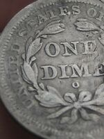 1849 O SEATED LIBERTY SILVER DIME- SMALL O, VG/FINE DETAILS